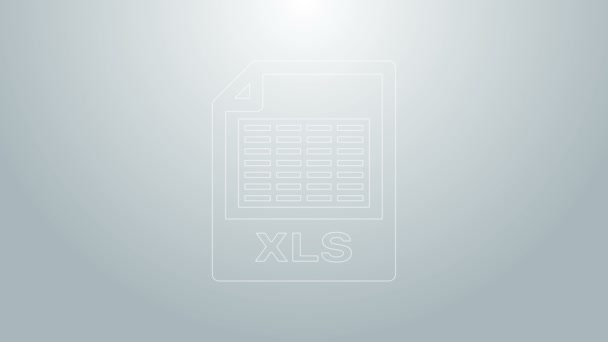 Blue line XLS file document. Download xls button icon isolated on grey background. Excel file symbol. 4K Video motion graphic animation