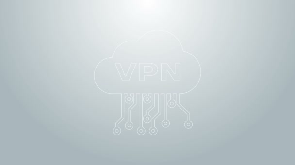 Blaue Linie Cloud VPN-Interface-Symbol isoliert auf grauem Hintergrund. Software-Integration. 4K Video Motion Grafik Animation