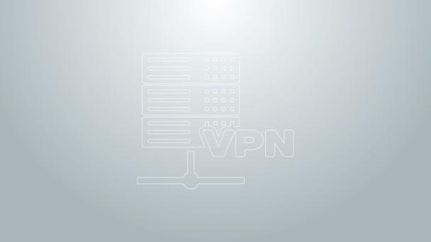 Blaue Linie Server VPN-Symbol isoliert auf grauem Hintergrund. 4K Video Motion Grafik Animation