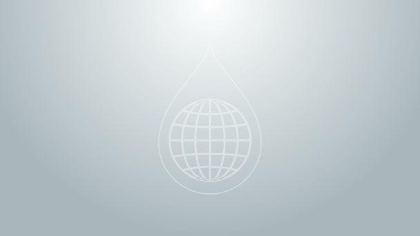 Modrá čára Země planety ve vodě kapky ikony izolované na šedém pozadí. Světová koule a kapka vody. Úspora vody a ochrana životního prostředí ve světě. Grafická animace pohybu videa 4K