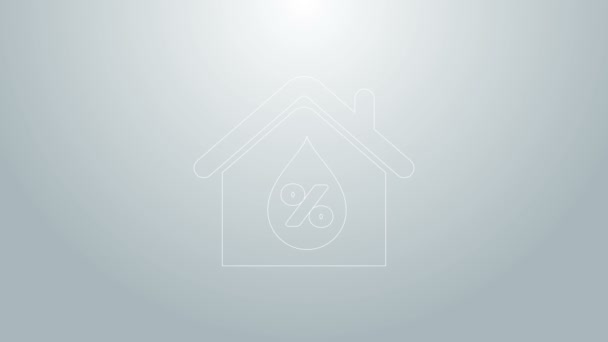 Blue line House humidity icon isolated on grey background. Weather and meteorology, thermometer symbol. 4K Video motion graphic animation
