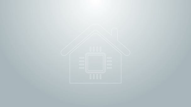 Blue line Smart home icon isolated on grey background. Remote control. 4K Video motion graphic animation