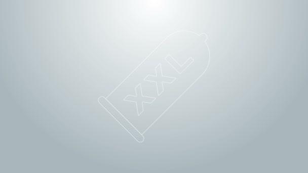 Blaue Linie Kondom Safe Sex-Symbol isoliert auf grauem Hintergrund. Sicheres Liebessymbol. Verhütungsmethode für Männer. 4K Video Motion Grafik Animation