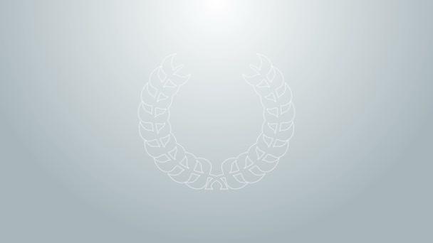 Modrá čára Laurel věnec ikona izolované na šedém pozadí. Triumfální symbol. Grafická animace pohybu videa 4K