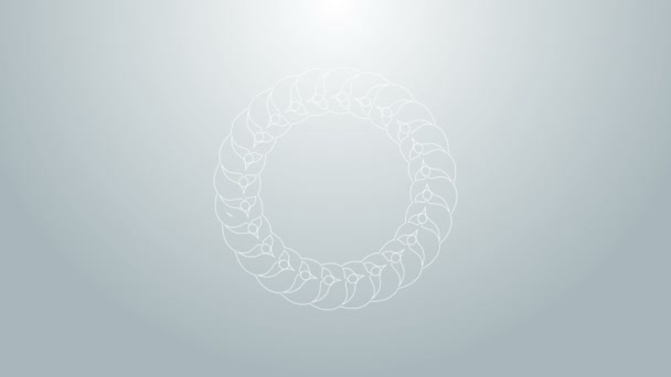 Blue line Laurel wreath icon isolated on grey background. Triumph symbol. 4K Video motion graphic animation