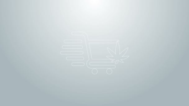 Blue line Shopping cart with marijuana or cannabis leaf icon isolated on grey background. Online buying. Delivery service. Supermarket basket. 4K Video motion graphic animation