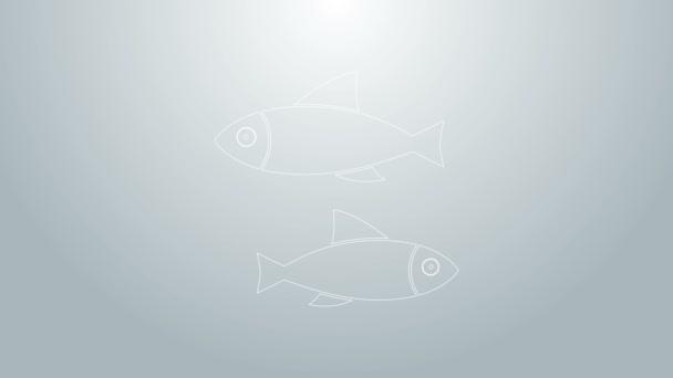 Kék vonal Halak ikon elszigetelt szürke háttér. 4K Videó mozgás grafikus animáció