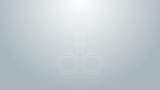 Kék vonal Olló fodrász ikon elszigetelt szürke alapon. Fodrász, divatszalon és borbély felirat. Borbélyüzlet szimbólum. 4K Videó mozgás grafikus animáció