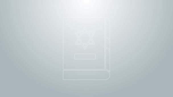 Blue line Jewish torah book icon isolated on grey background. On the cover of the Bible is the image of the Star of David. 4K Video motion graphic animation