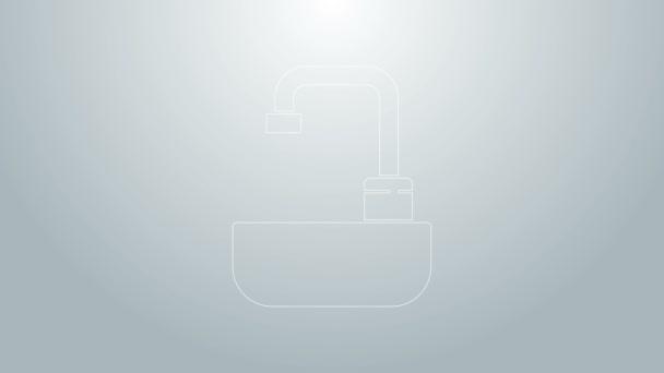 Kék vonal Mosoda vízcsapoló ikon elszigetelt szürke alapon. 4K Videó mozgás grafikus animáció