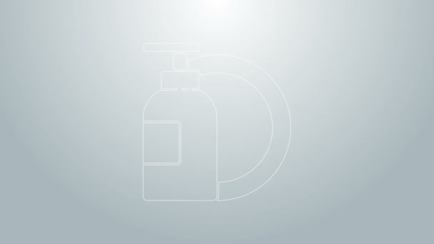 Blaue Linie Spülmittelflasche und Tellersymbol isoliert auf grauem Hintergrund. Flüssigwaschmittel zum Geschirrspülen. 4K Video Motion Grafik Animation
