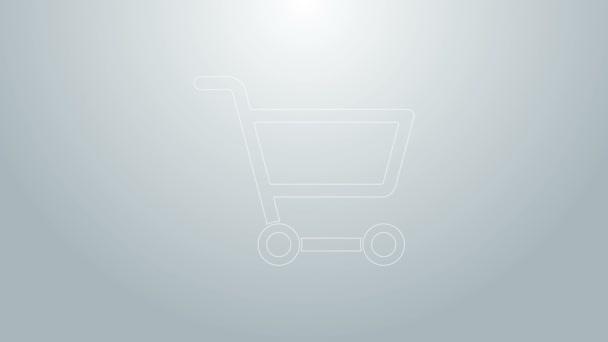 Modrá čára Nákupní košík ikona izolované na šedém pozadí. Online nákupní koncept. Podpis doručovací služby. Symbol supermarketu. Grafická animace pohybu videa 4K