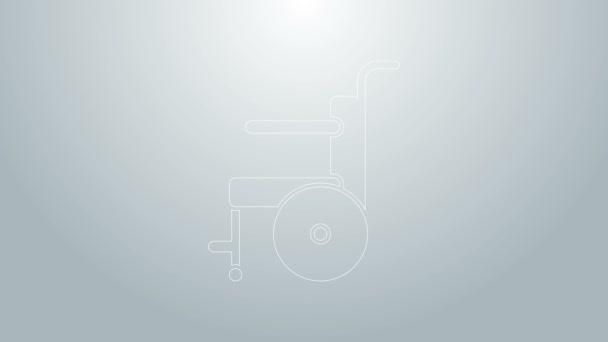 Blaue Linie Rollstuhl für Behinderte Symbol isoliert auf grauem Hintergrund. 4K Video Motion Grafik Animation