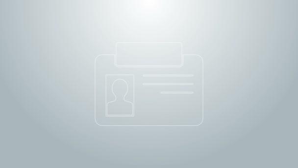 Kék vonal Azonosító jelvény ikon elszigetelt szürke alapon. Használható bemutatásra, a cég személyazonosságára, reklámozásra. 4K Videó mozgás grafikus animáció