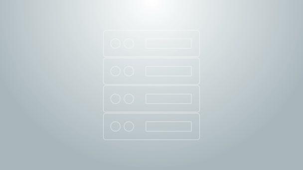 Blaue Linie Server, Daten, Web-Hosting-Symbol isoliert auf grauem Hintergrund. 4K Video Motion Grafik Animation