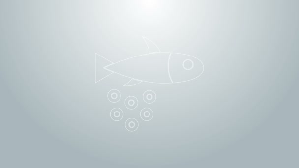 Modrá čára Ryby s ikonou kaviáru izolované na šedém pozadí. Grafická animace pohybu videa 4K