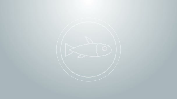 Blue line Served fish on a plate icon isolated on grey background. 4K Video motion graphic animation