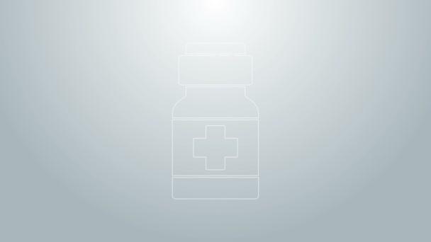 Blaue Linie Medizin Flasche und Pillen Symbol isoliert auf grauem Hintergrund. Medikamentenpaket für Tabletten, Vitamine, Antibiotika, Aspirin. 4K Video Motion Grafik Animation