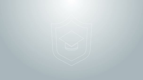 Kék vonal Ballagási sapka pajzs ikon elszigetelt szürke alapon. Biztosítási koncepció. Biztonság, biztonság, védelem, védelem. 4K Videó mozgás grafikus animáció