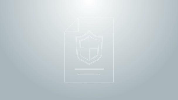 Kék vonal Szerződés pajzs ikon elszigetelt szürke alapon. Biztosítási koncepció. Biztonság, biztonság, védelem, védelem. 4K Videó mozgás grafikus animáció