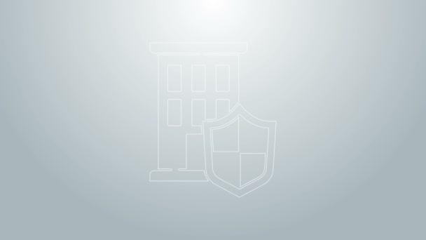Kék vonal Ház pajzs ikon elszigetelt szürke háttér. Biztosítási koncepció. Biztonság, biztonság, védelem, védelem. 4K Videó mozgás grafikus animáció
