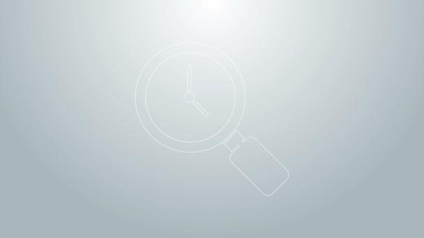 Kék vonal Nagyító üveg óra ikon elszigetelt szürke alapon. 4K Videó mozgás grafikus animáció