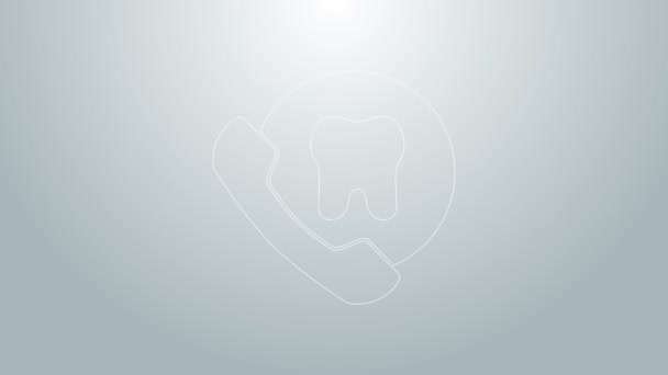 Blue line Online dental care icon isolated on grey background. Dental service information call center. 4K Video motion graphic animation