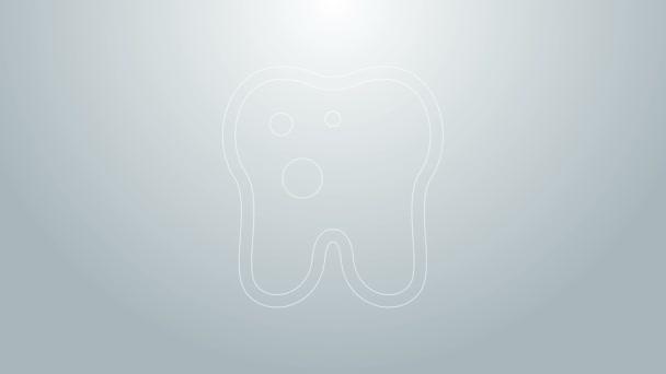 Blaue Linie Zahn mit Kariessymbol isoliert auf grauem Hintergrund. Karies. 4K Video Motion Grafik Animation