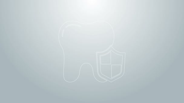 Blue line Dental protection icon isolated on grey background. Tooth on shield logo. 4K Video motion graphic animation