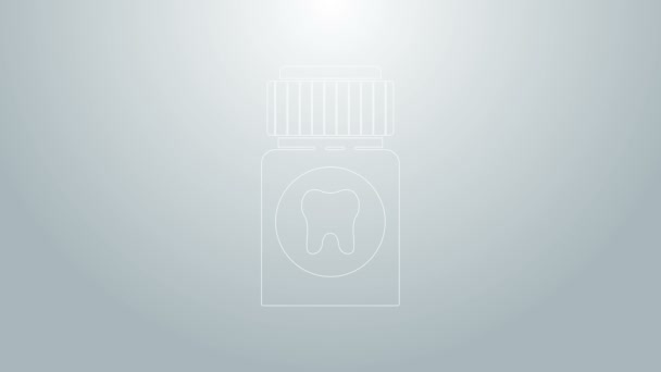 Blue line Toothache painkiller tablet icon isolated on grey background. Tooth care medicine. Capsule pill and drug. Pharmacy design. 4K Video motion graphic animation