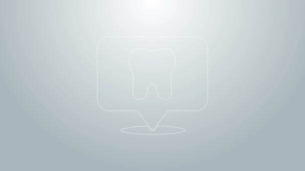 Blue line Dental clinic location icon isolated on grey background. 4K Video motion graphic animation