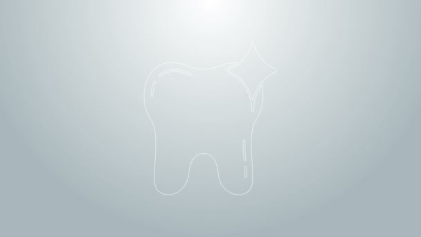 Blaue Linie Zahnaufhellungskonzept Symbol isoliert auf grauem Hintergrund. Zahnsymbol für Zahnklinik oder Zahnarztpraxis. 4K Video Motion Grafik Animation