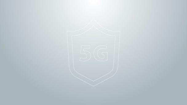 Kék vonal Védőpajzs 5G vezeték nélküli internet wifi ikon elszigetelt szürke háttér. Globális hálózat nagy sebességű kapcsolat adatátviteli technológia. 4K Videó mozgás grafikus animáció