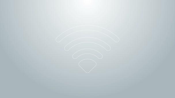 Blaue Linie Wireless-Internet-Netzwerk-Symbol Symbol isoliert auf grauem Hintergrund. 4K Video Motion Grafik Animation