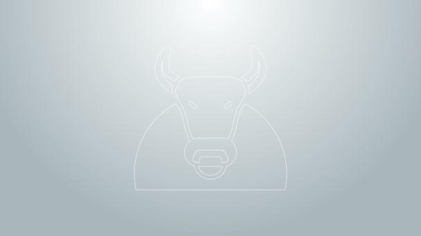 Blaue Linie Bull Symbol isoliert auf grauem Hintergrund. Spanischer Kampfstier. 4K Video Motion Grafik Animation
