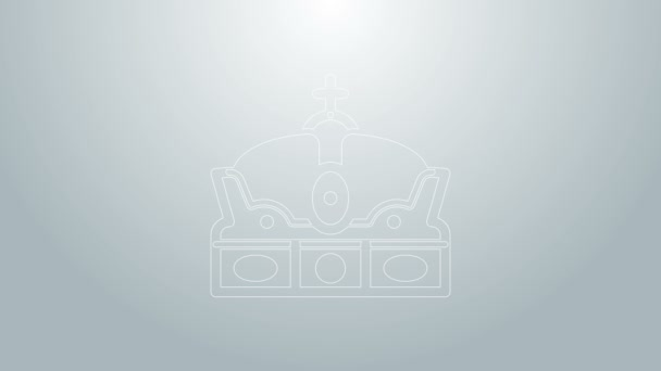 Blue line Crown of spain icon isolated on grey background. 4K Video motion graphic animation