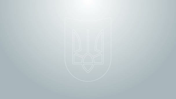 Blue line National emblem of Ukraine icon isolated on grey background. Ukrainian trident. 4K Video motion graphic animation