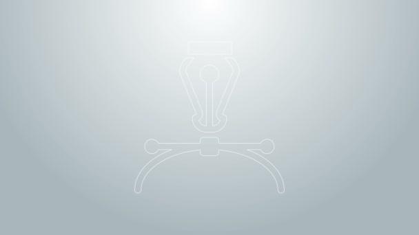 Blaue Linie Füllfederhalter-Symbol isoliert auf grauem Hintergrund. Stift-Werkzeug-Zeichen. 4K Video Motion Grafik Animation