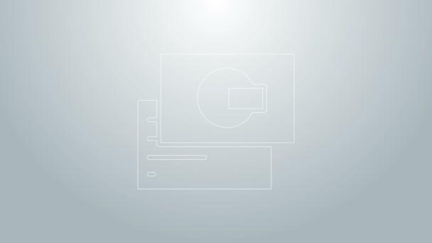 Kék vonal Látogatási kártya, névjegykártya ikon elszigetelt szürke alapon. Vállalati azonosító sablon. 4K Videó mozgás grafikus animáció