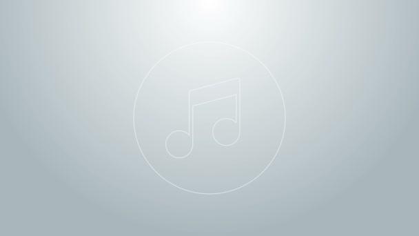 Kék vonal Zene hang, hang ikon elszigetelt szürke háttérrel. 4K Videó mozgás grafikus animáció