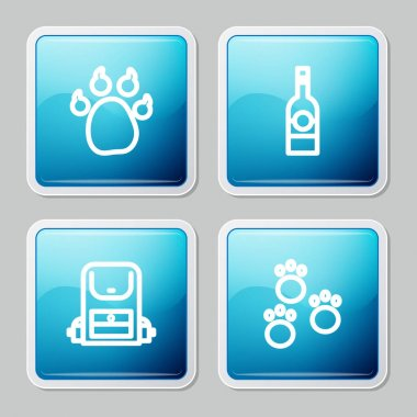 Set line Paw print, Bottle of vodka, Hiking backpack and  icon. Vector icon