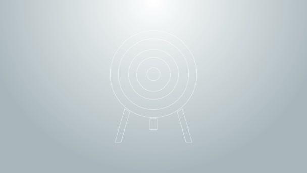 Kék vonal Célpont ikon elszigetelt szürke háttér. Dárdajel. Íjászati tábla ikon. Dartboard jel. Üzleti cél koncepció. 4K Videó mozgás grafikus animáció