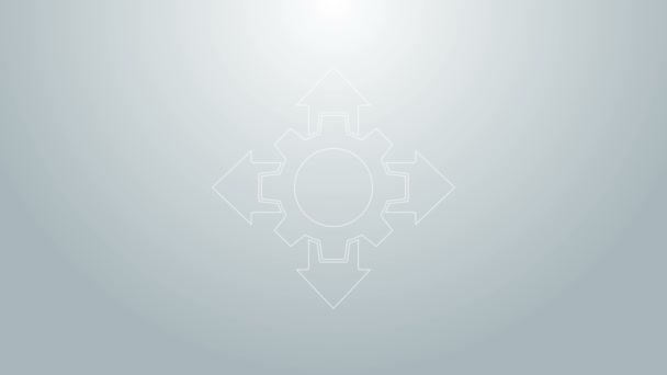 Modrá čára Základní ikona projektového týmu izolovaná na šedém pozadí. Obchodní analýza a plánování, poradenství, týmová práce, projektové řízení. Grafická animace pohybu videa 4K