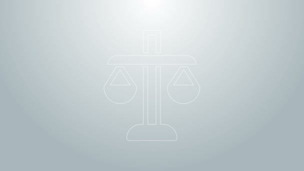 Blue line Scales of justice icon isolated on grey background. Court of law symbol. Balance scale sign. 4K Video motion graphic animation