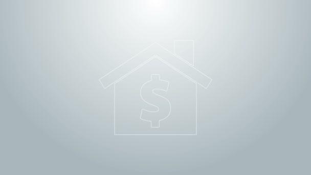 Blaue Linie Haus mit Dollar-Symbol Symbol isoliert auf grauem Hintergrund. Heimat und Geld. Immobilienkonzept. 4K Video Motion Grafik Animation