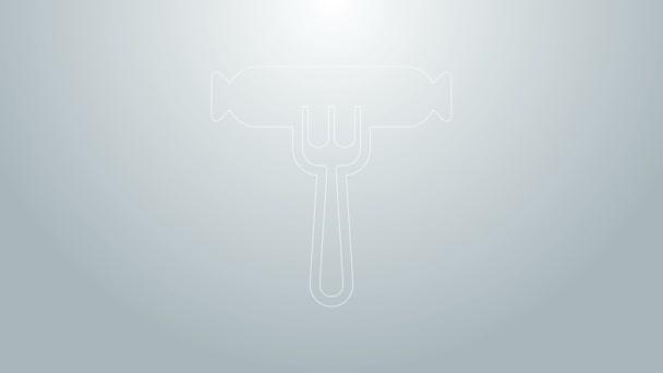 Kék vonal Kolbász a villa ikon elszigetelt szürke alapon. Grillezett kolbász és aromajel. 4K Videó mozgás grafikus animáció