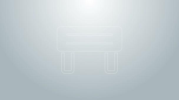 Modrá čára Sauna lavice ikona izolované na šedém pozadí. Grafická animace pohybu videa 4K