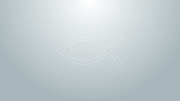 Blue line Christian fish symbol icon isolated on grey background. Jesus fish symbol. 4K Video motion graphic animation
