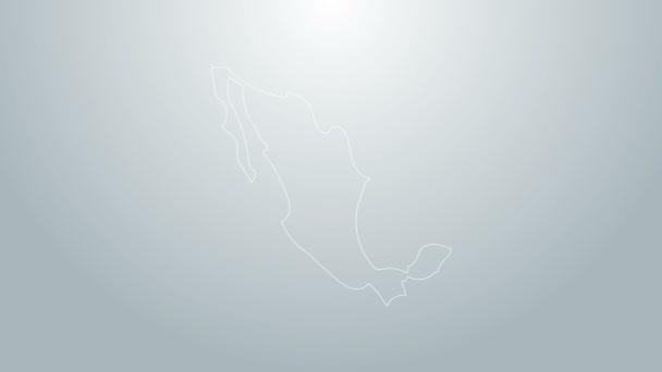 Modrá čára Mapa mexické ikony izolované na šedém pozadí. Grafická animace pohybu videa 4K