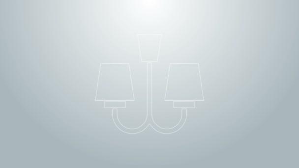 Blaue Linie Kronleuchter Symbol isoliert auf grauem Hintergrund. 4K Video Motion Grafik Animation